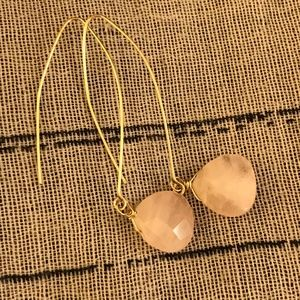 Pink Quartz Earrings on Gold colored wires